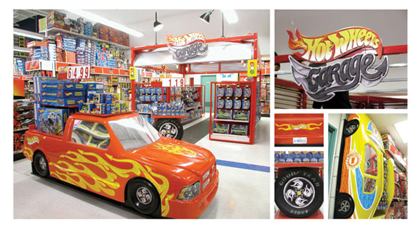 hot wheels garage in store display intwine design. Black Bedroom Furniture Sets. Home Design Ideas