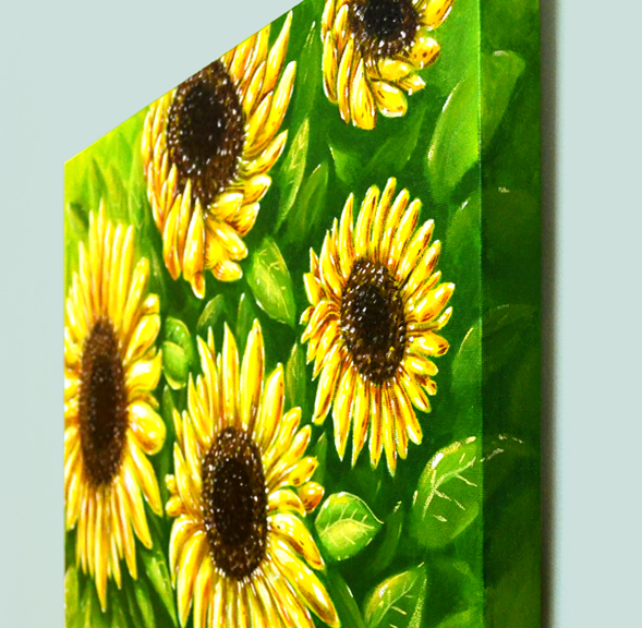 Sunflowers acrylic painting intwine design for How to paint sunflowers in acrylic