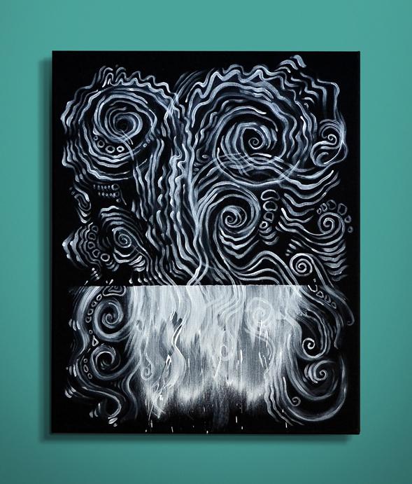 Negative Series 'Tides' – Acrylic on Black Canvas