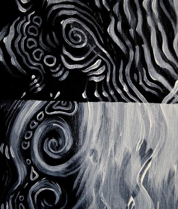 Richard Patmore Negative Series by Richard Patmore 03B Tides Negative Series 'Tides' – Acrylic on Black Canvas