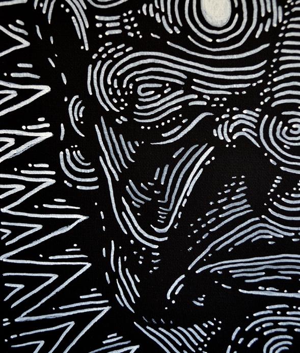 Richard Patmore Negative Series by Richard Patmore 04B Anxiety Negative Series Anxiety   White Ink on Black Canvas